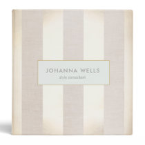 Stylish Elegant Beige Linen and Gold Striped 3 Ring Binder
