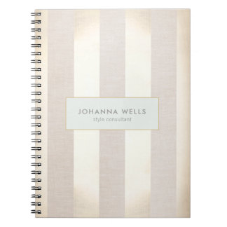 Stylish Elegant Beige Linen and Gold Striped Notebook