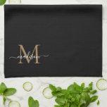 "Stylish Elegant Black Gold Monogram Script Name Kitchen Towel<br><div class=""desc"">Modern Stylish Elegant Black Gold Monogram Script Name Kitchen Towel</div>"
