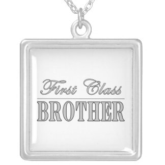 Stylish Elegant Brothers Gifts First Class Brother Square Pendant Necklace