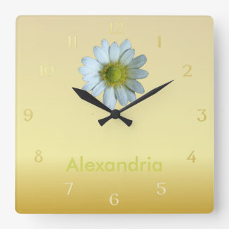 Stylish Elegant Dainty Texas White Windflower Square Wall Clock