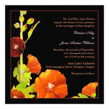 Stylish, Elegant Hollyhocks Fall Wedding Invites