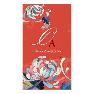 Stylish Elegant Monogram Red Business Cards