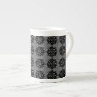 Stylish elegant pattern. Black and Gray. Bone China Mugs