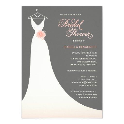 Stylish elegant wedding gown bridal shower invite 4 5 x 6 for Designer bridal shower invitations