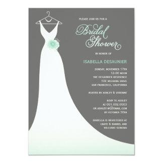 Stylish Elegant Wedding Gown Bridal Shower Invite Custom Invites