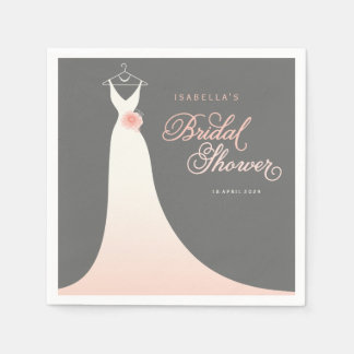 Stylish Elegant Wedding Gown Bridal Shower Party Paper Napkin