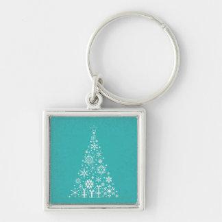 Stylish elegant white and teal Christmas tree Key Chain