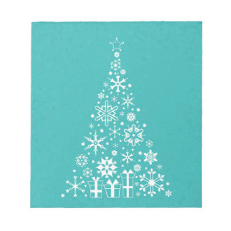 Stylish elegant white and teal Christmas tree Scratch Pad