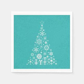 Stylish Elegant white and teal Christmas tree Paper Napkin