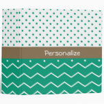 Stylish Emerald Green and White Chevron Polka Dots 3 Ring Binders