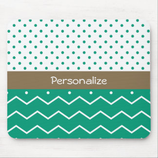 Stylish Emerald Green and White Chevron Polka Dots Mouse Pad