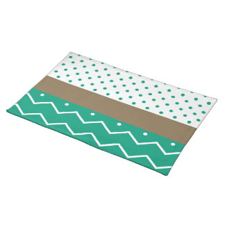 Stylish Emerald Green and White Chevron Polka Dots Cloth Placemat