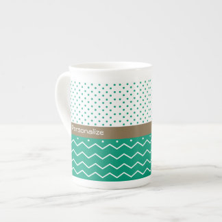 Stylish Emerald Green and White Chevron Polka Dots Tea Cup