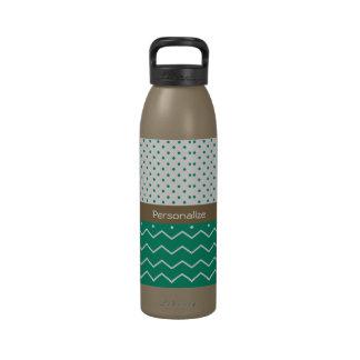 Stylish Emerald Green and White Chevron Polka Dots Reusable Water Bottles
