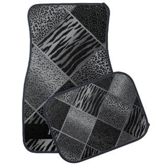 Stylish Exotic Animal Patterns   Gray & Black Car Mat