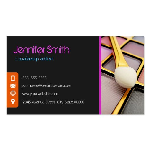 Stylish Eye Shadow - Makeup Artist Business Card Template (back side)