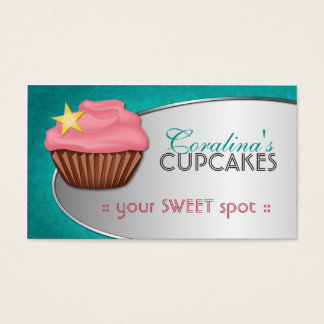 Stylish Fab Teal & Pink Cupcake Business Cards