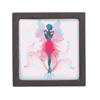 Stylish Fairy feminine silhouette illustration Jewelry Box