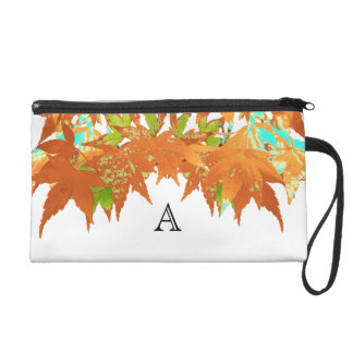 Stylish Fall Gold Japanese Maple Leaves Monogram Wristlet