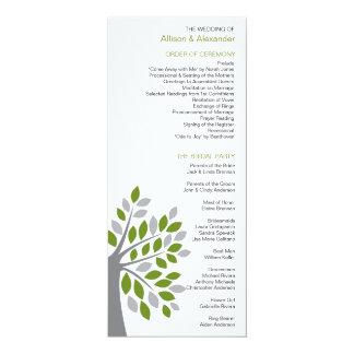 Stylish Fall Green Tree Wedding Program Custom Invitations