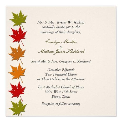 Stylish Fall Leaves Wedding Invitation 525 Square Invitation Card