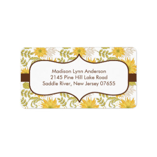 Stylish Fall Sunflowers Return Address Labels.