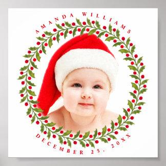 Stylish Family Photo Cute Christmas Keepsake Poster