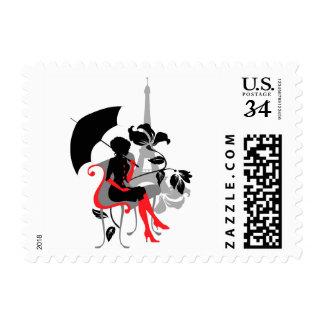 Stylish fashion silhouette beautiful woman. Paris Stamp