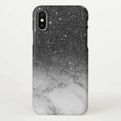Stylish faux black glitter ombre white marble Phone Case