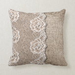 Stylish Faux Floral Lace Burlap Texture Pattern Throw Pillow
