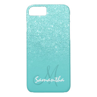 Stylish faux glitter ombre teal block personalized iPhone 7 case