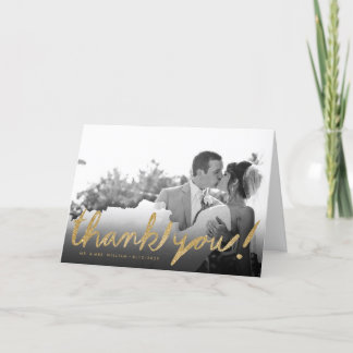 Stylish Faux Glitter Photo Thank You Greeting Card
