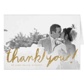 Stylish Faux Glitter Photo White Thank You Card
