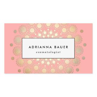 Stylish Faux Gold Foil Circle Motif Pink Business Card