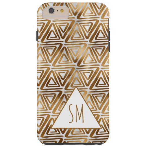 Stylish Faux Gold Foil Triangles Pattern Monogram Tough iPhone 6 Plus Case