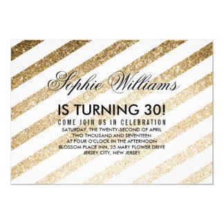 Stylish Faux Gold Glitter Birthday Invitation
