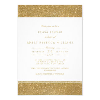 Stylish Faux Gold Glitter Bridal Shower Invite