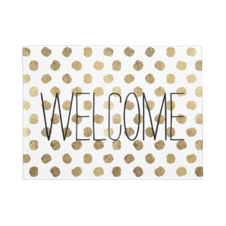 Stylish  faux gold leaf polka dots brushstrokes doormat