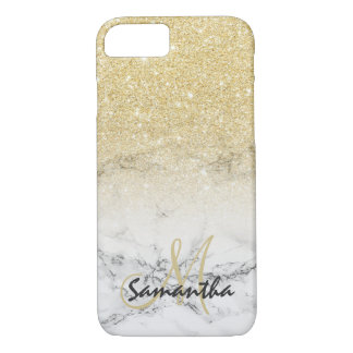 Stylish faux gold ombre marble block personalized iPhone 8/7 case
