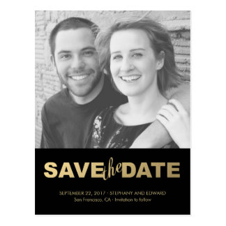 Stylish Faux Gold Save The Date Photo Postcard