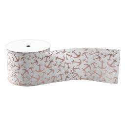 Stylish faux rose gold anchor pattern white marble grosgrain ribbon