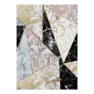 Stylish faux rose gold black white luxury marble poster