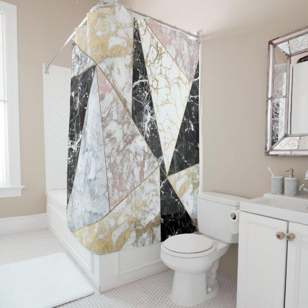 stylish faux rose gold black white luxury marble shower curtain zazzlecom