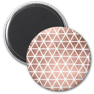 Stylish faux rose gold foil triangles pattern 2 inch round magnet