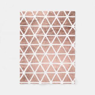 Stylish faux rose gold foil triangles pattern fleece blanket