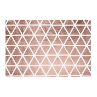 Stylish Faux Rose Gold Foil Triangles Pattern Placemat at Zazzle