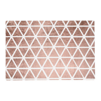 Stylish faux rose gold foil triangles pattern placemat