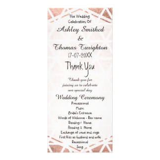 Stylish faux rose gold foil triangles pattern rack card