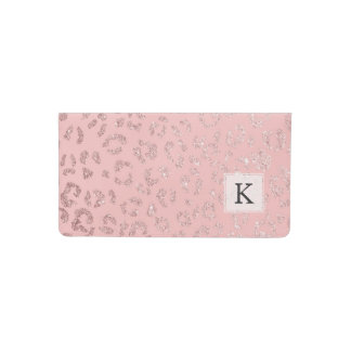 Stylish faux rose gold glitter leopard ombre pink checkbook cover